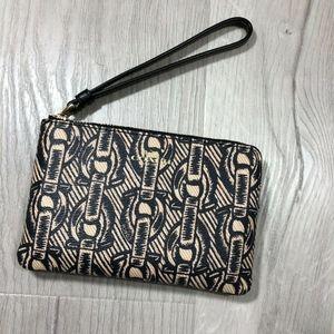 Coach Chain Printed coated Corner Zip Wristlet